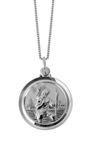 Sterling Silver St. Christopher necklace, With Boats, Ships And Planes On The Back 3235